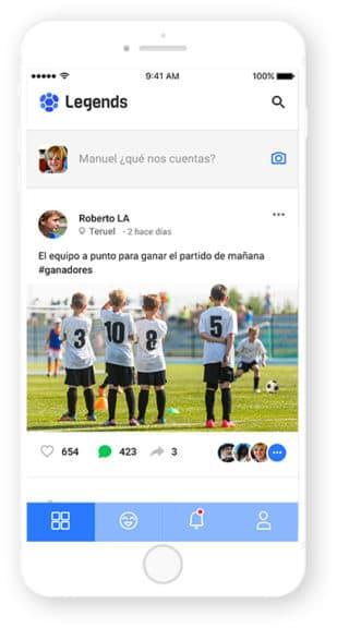 Pantalla app Leyends, desarrollada por Cuatroochenta