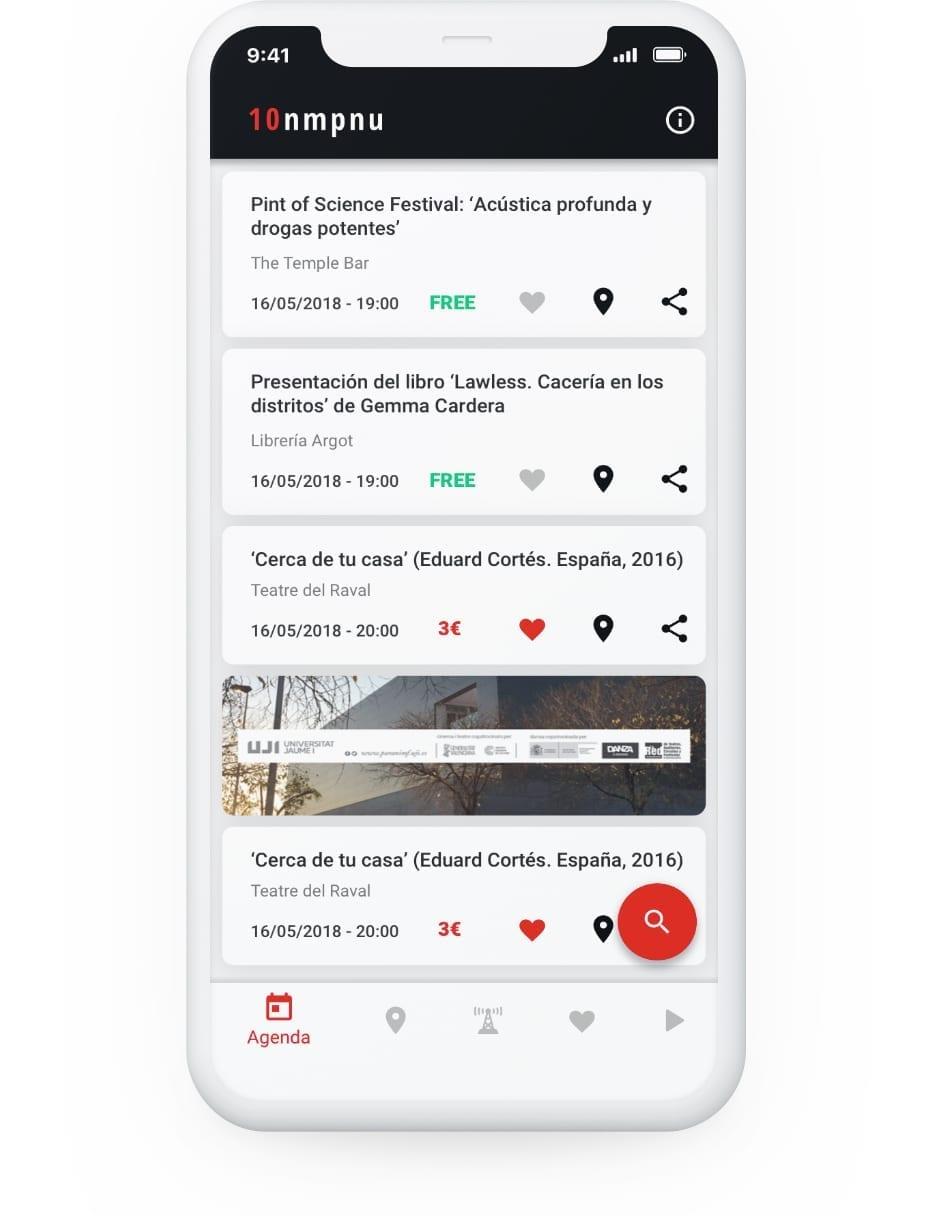 App Nomepierdoniuna desarrollada por Cuatroochenta. Ejemplo de banner con publicidad.