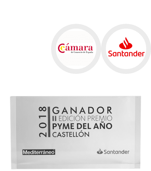 <p><strong>SME of the year Castellón</strong></p> <p>Spanish Chamber of Commerce with Santander Group</p> <p><strong>2018</strong></p>