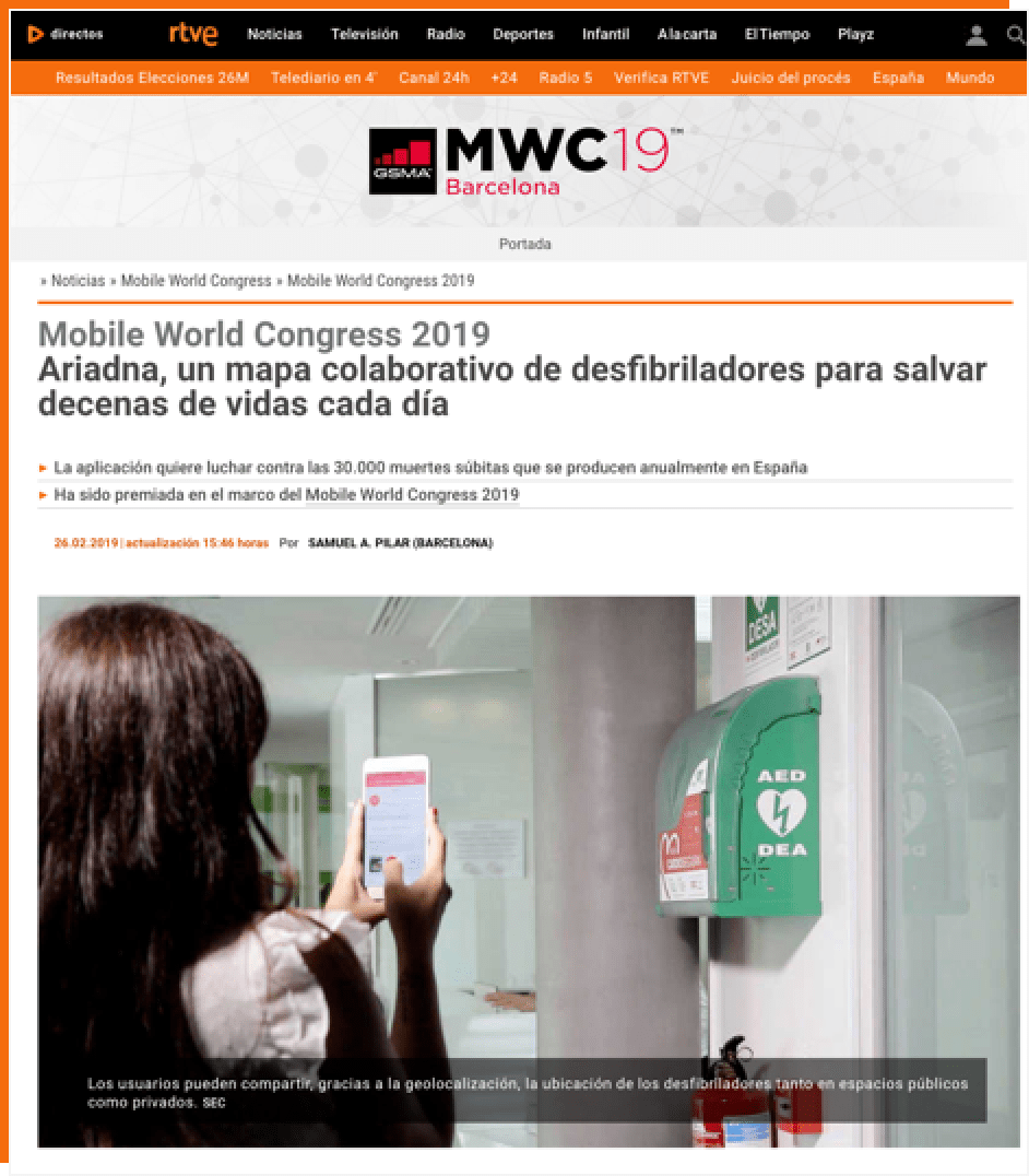 Rtve - Mobile World Congress 2019 Ariadna, un mapa colaborativo de desfibriladores para salvar decenas de vidas cada día
