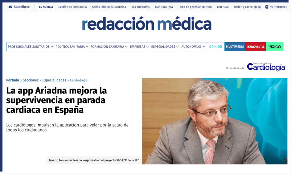 Redacción Médica - La app Ariadna mejora la supervivencia en parada cardiaca en España